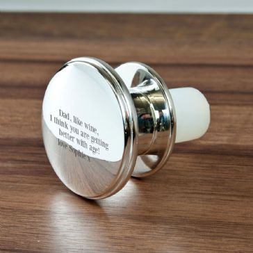 Engraved Message Silver Plated Bottle Stopper